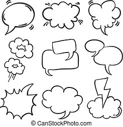 Doodle of speech balloon hand draw set vector illustration