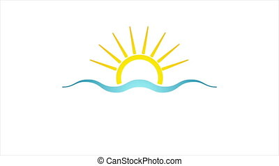 Abstract bright sun and sea icon video animation - Abstract...