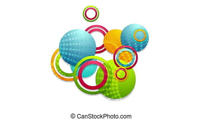 Abstract colorful circles and rings video animation -...