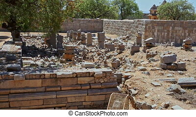 Motion along Excavation Place at Historical Complex - HAMPI,...