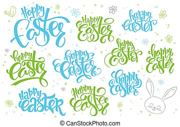 vector hand lettering happy easter text set, written in various styles with doodle flowers and bubbles