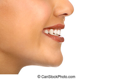 woman mouth - Beautiful young woman Isolated over white...