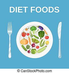 Diet food. Dieting and nutrition.