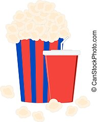 Carton bowl full of popcorn and paper glass of drink -...