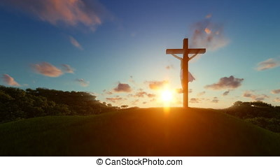 Silhouette of Jesus with Cross over sunset, religious concept