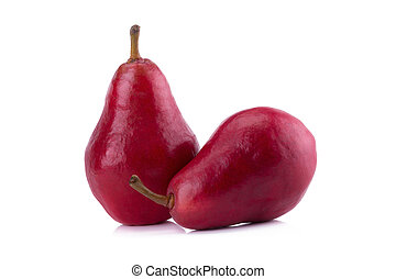 Red pears over white background.