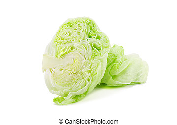 Crisphead lettuce isolated on the white background. -...