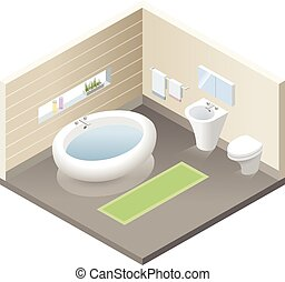 Vector isometric bathroom, set of modern bath furniture icons