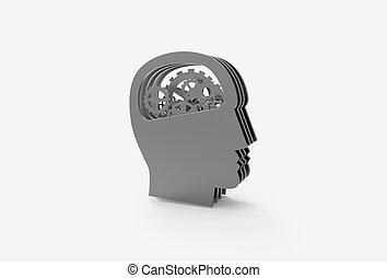 3D rendering illustration of gear in head, thinking process icon.