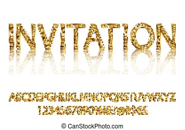 Gold alphabetic fonts vector - Gold rush. Gold alphabetic...
