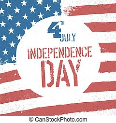 4th July Independence day. American flag patriotic background. US flag with greeting text in circle. US patriotic design template. American stars and stripes background.