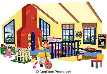 Childrens playroom - A cutaway illustration of a children's...