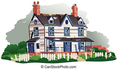 Derelict house - An illustration of a large derelict house...