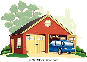 Double garage and automobile - An illustration of a large...
