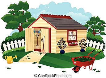 Garden shed - An illustration of a small wooden garden shed.