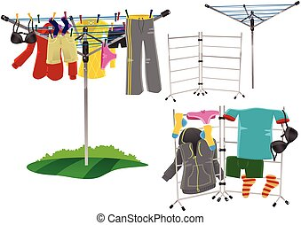 Rotary clothes drier and clothes horse - Several...