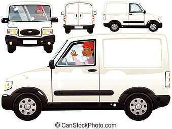 Small delivery van and driver