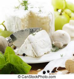 delicatessen cheese - delicatessen soft cheese with grape...