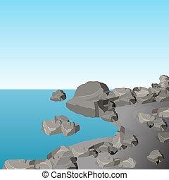 The stony sea shore. Gray stones. Landscape. illustration -...