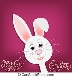 Happy easter. Easter bunny on purple background. illustration