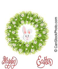 Happy easter. Green wreath of herbs and chamomile. Easter bunny. illustration