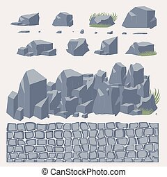 Stone wall pavement texture vector set