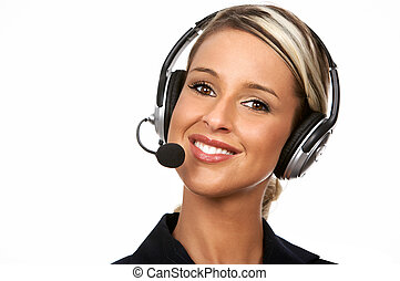 Customer support - Pretty business woman with headset. Over...