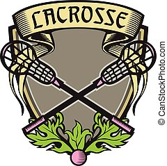 Crossed Lacrosse Stick Coat of Arms Crest Woodcut -...