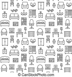 Furniture seamless pattern. Background, illustration, vector, endless texture