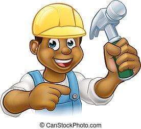 Handyman Carpenter Hammer Man