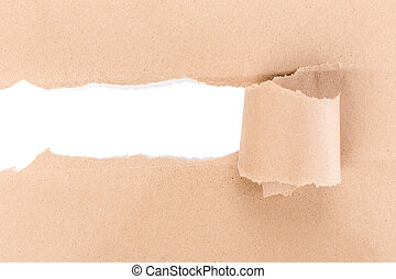 Hole ripped in brown paper on white background.