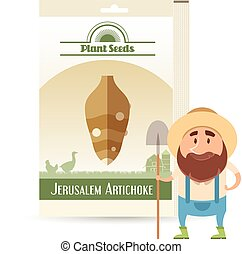 Pack of Jerusalem Artichoke seeds icon - Vector image of the...