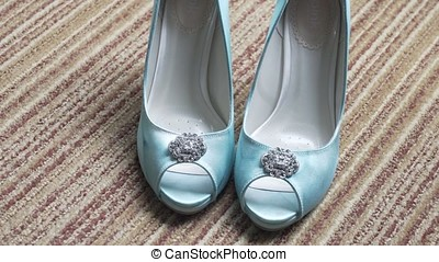 Wonderful wedding shoes. Shoes for Bride stay on the floor....