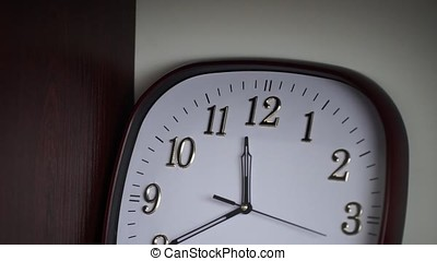 White wall clock. Oval wall clock shows 11:40. Time