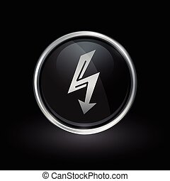 Electric bolt arrow icon inside round silver and black emblem