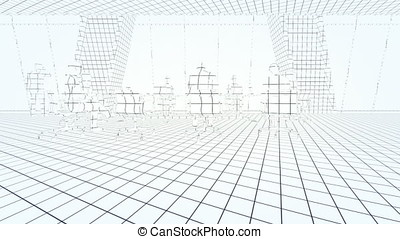 Business team in conference room, rear view sunset, 3d sketch to color