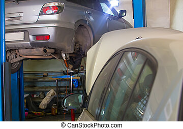 Car repair station interior and car