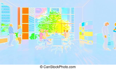 Business team meeting, rear view cityscape, zoom in, 3d illustration