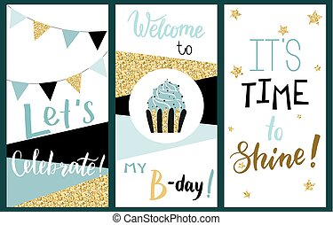 Happy Birthday Party cards set with cake, cupcake, topper,...