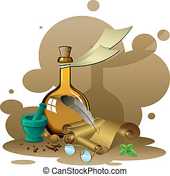 Items ancient pharmacy Vector illustration EPS 8, AI, JPEG