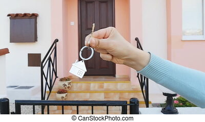 Key in hand for new home. Real estate concept