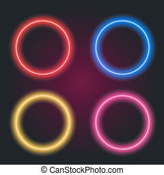 glowing digital circles - Neon color shining glowing digital...