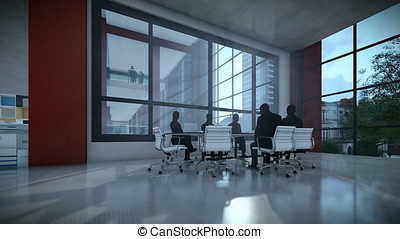 Business team silhouettes meeting, office building,...