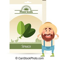 Pack of Spinach seeds icon - Vector image of the Pack of...