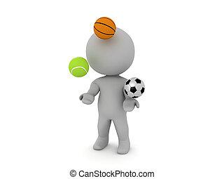 3D Character juggling sport balls