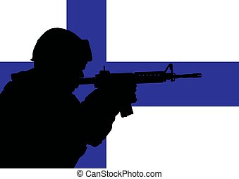 Finnish soldier 2 - Silhouette of a Finnish soldier with the...