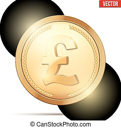 Gold coin with pound sign.