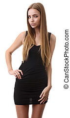 beautiful young woman with long hair standing. Isolated on...