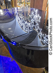 Decorations on a pianoforte - View of Christmas decorations...