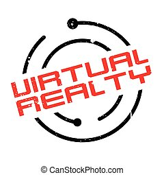 Virtual Realty rubber stamp. Grunge design with dust...
